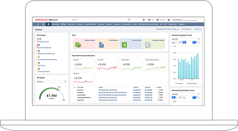 NetSuite Financials Dashboard